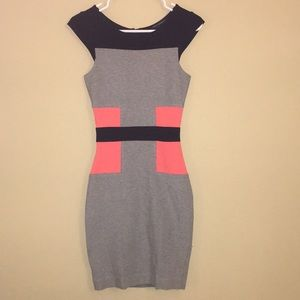 black, grey and pink dress. size 2